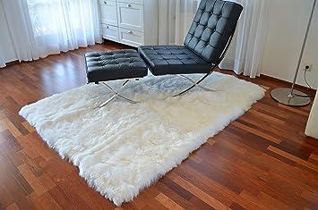 Flokati teppich  Design Öko Lammfell Schaffell-Teppich 150x200 weiss , Hochflor ...