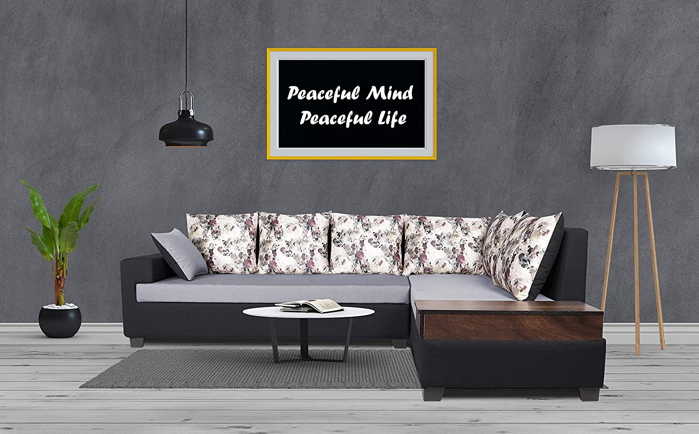 Adorn India Orlando Fabric L Shape Sofa (Black & Light Grey)