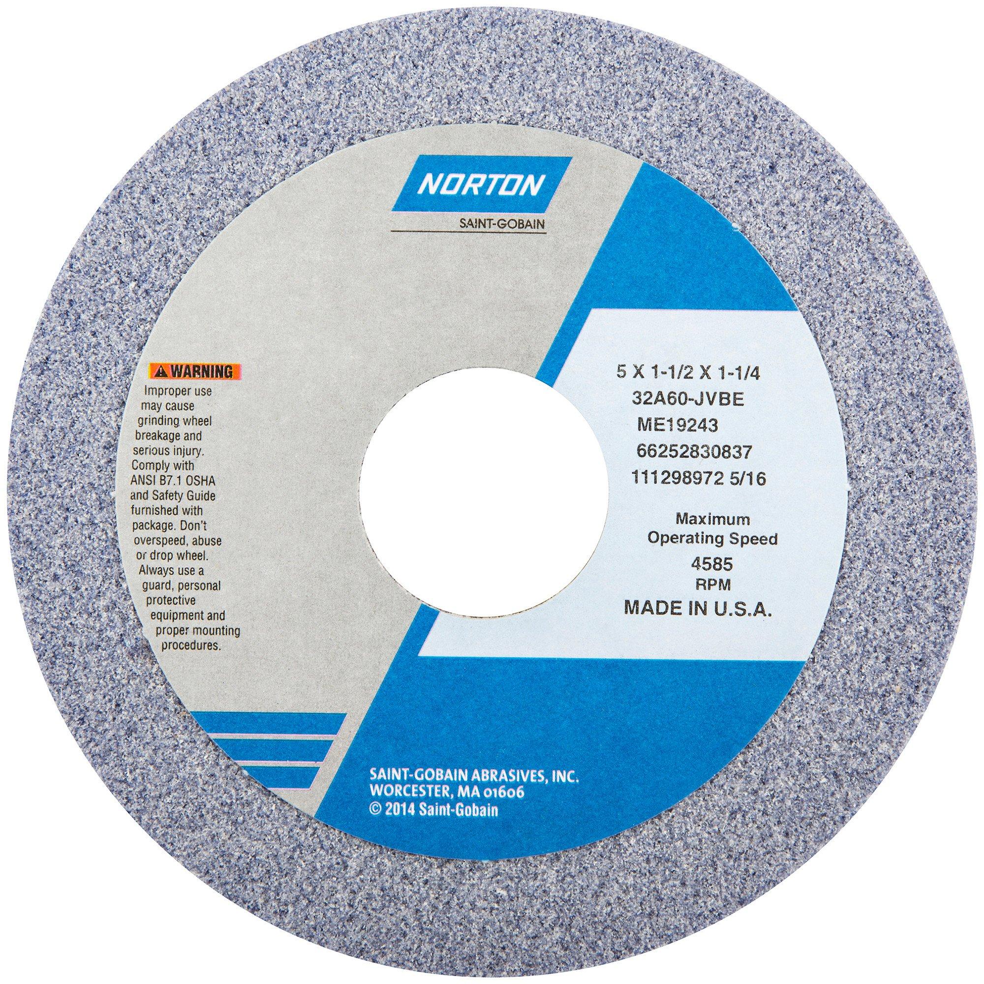 Straight Cup Wheel, 5Diax1.5 Tx1.25AH, PK5 by Norton Abrasives - St. Gobain