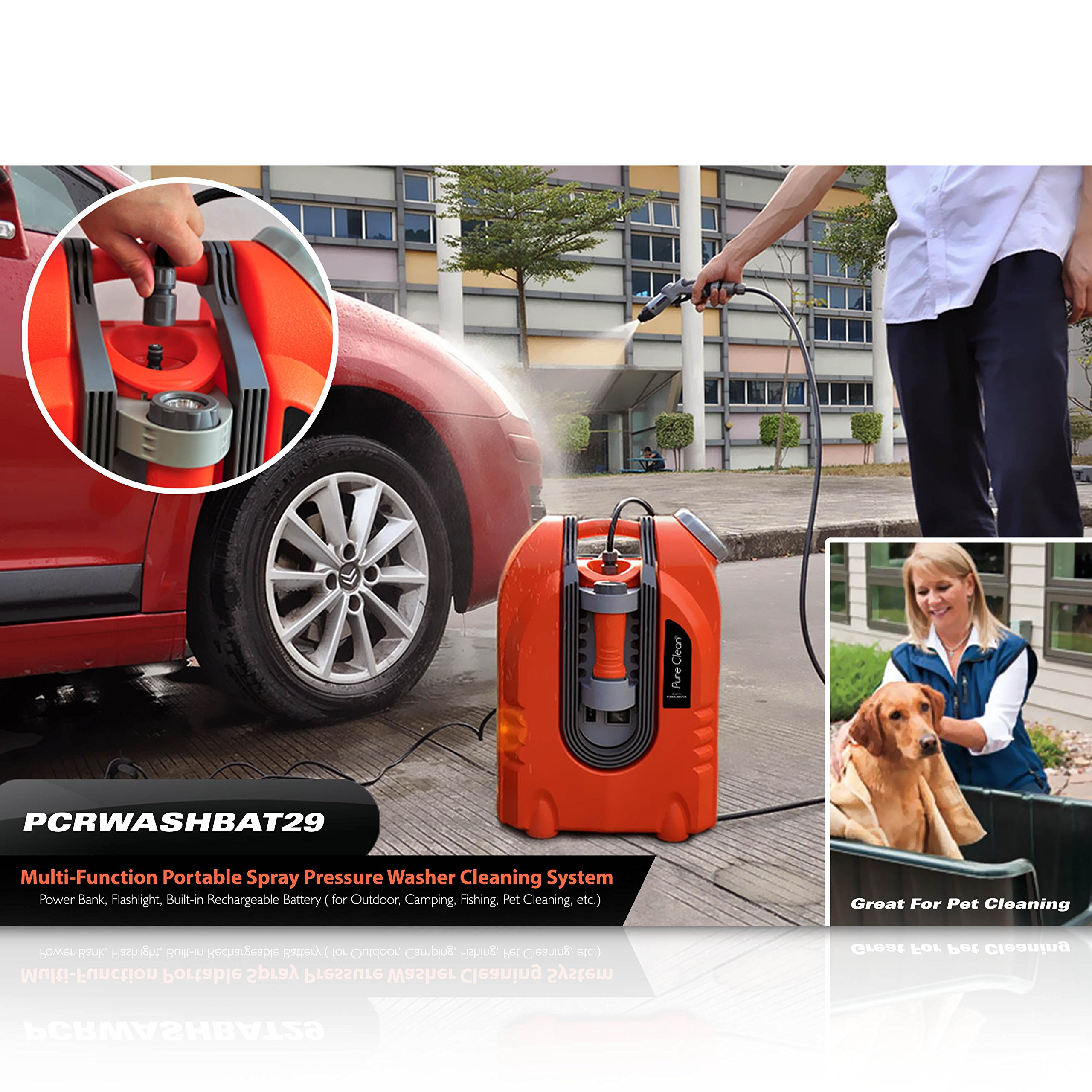 Pure Clean PCRWASHBAT29 portable spray washer W/ Flash Light - Power bank - Carrying Wheels by Pure Clean (Image #9)