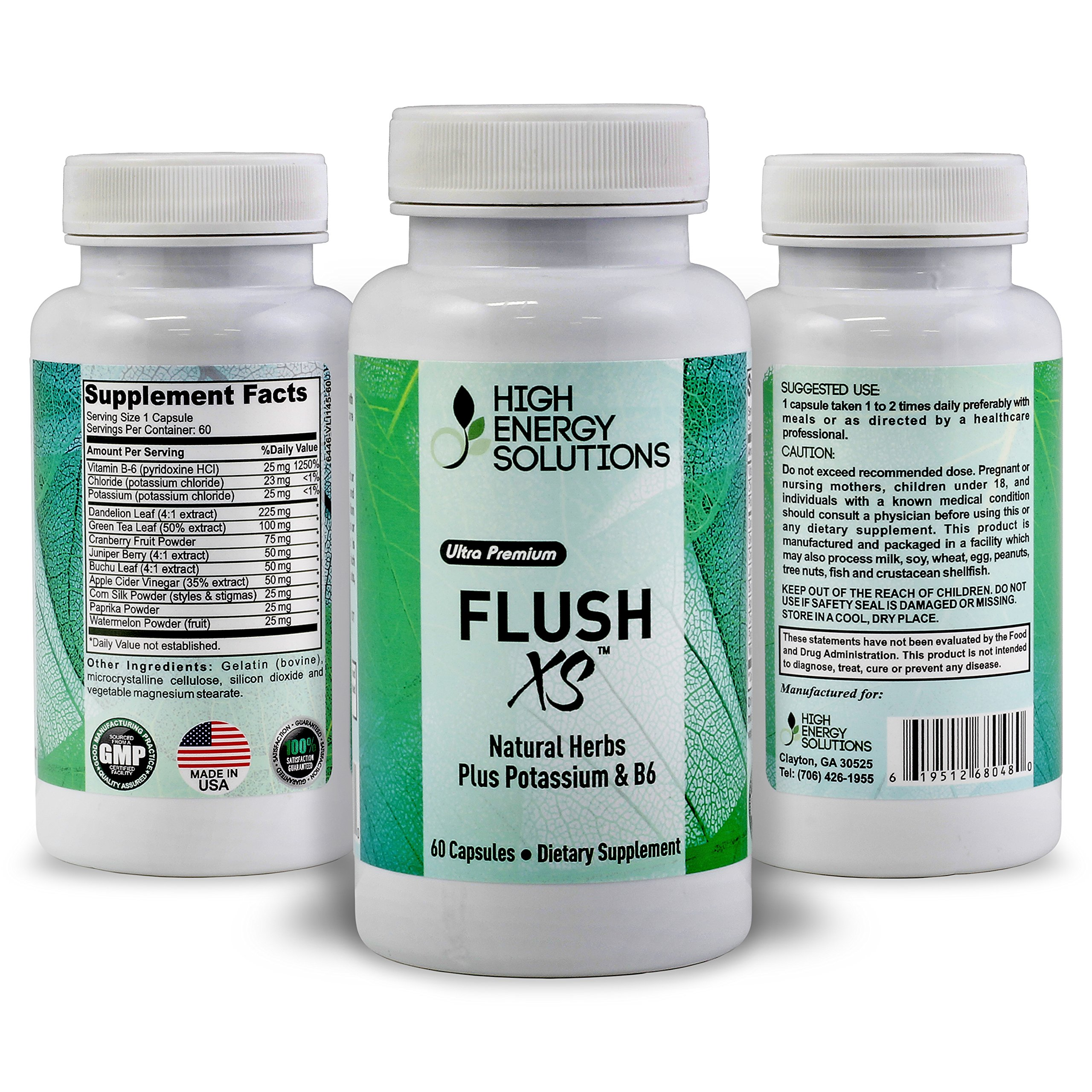 HIGH ENERGY SOLUTIONS FLUSH XS - Potent Diuretic Supplement For Puffy Eyes - Bloating - Swelling - Water Weight Gain - PMS - Edema - 60 Caps - 30 Day's - 'Feel Like Your Old Self Again' USA by HIGH ENERGY SOLUTIONS