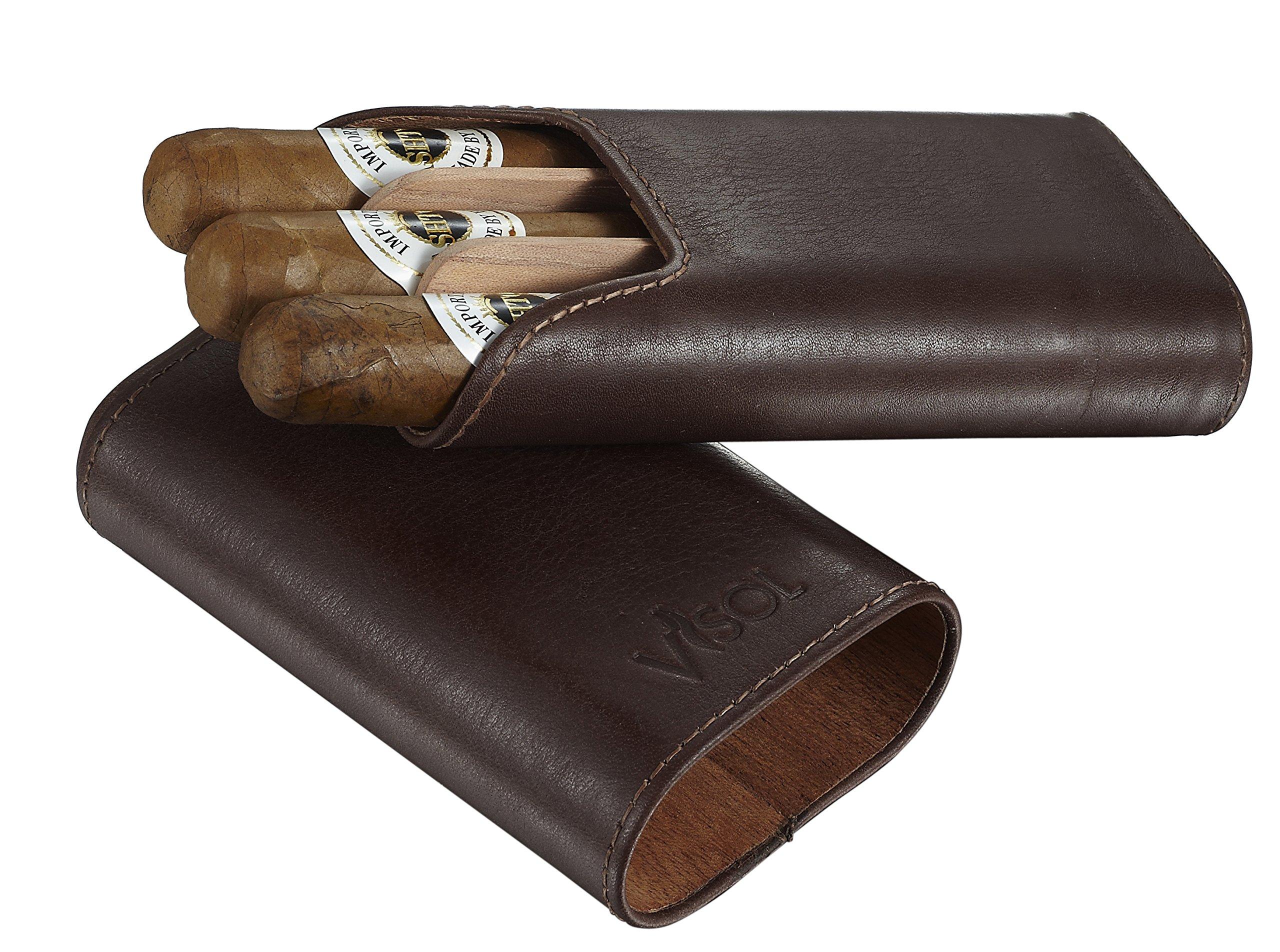 Visol Cuero Top Grain Brown Leather 3-Finger Cigar Case with Cedar Lining