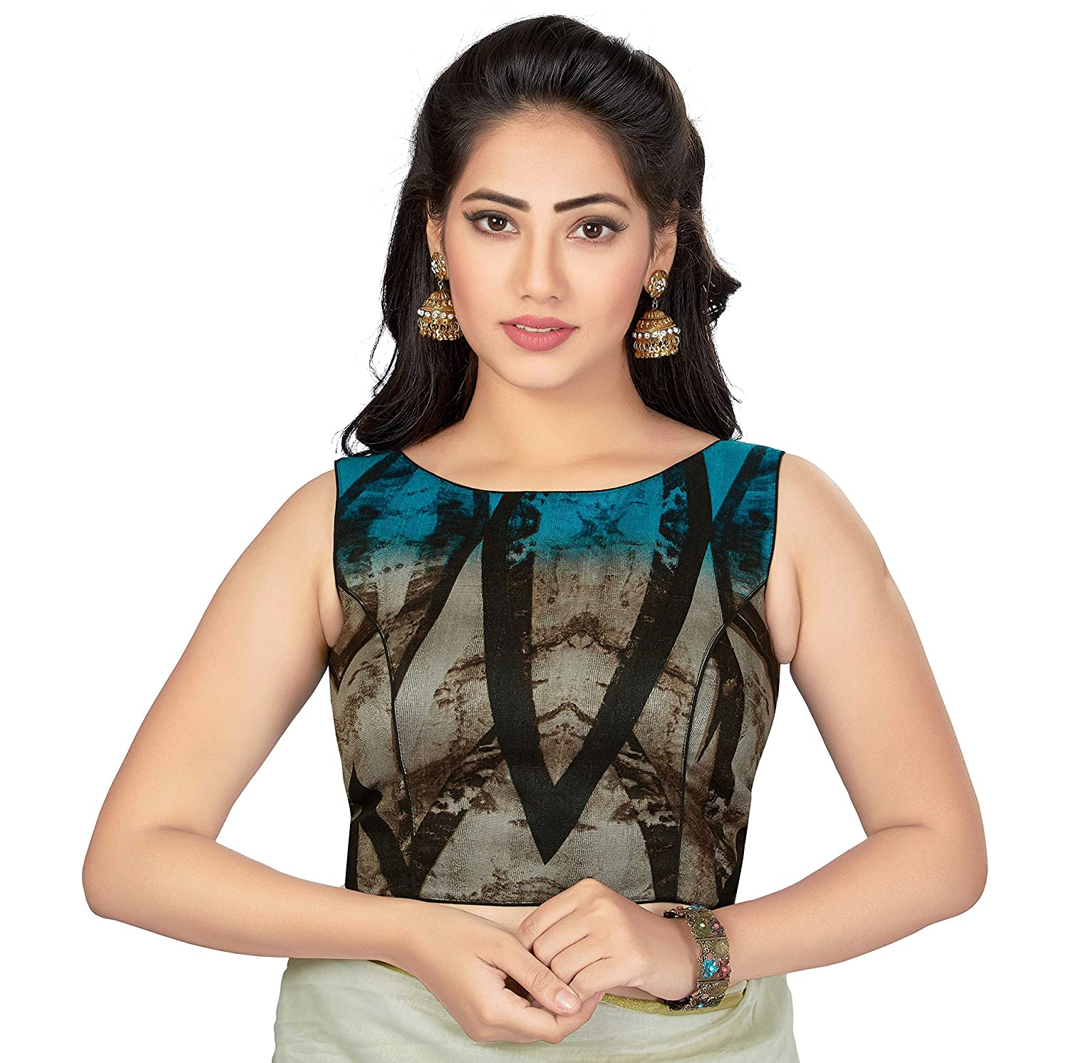 TrendyFashionMall Readymade Sleeveless Printed Cotton Saree Blouse Multi Color Collection