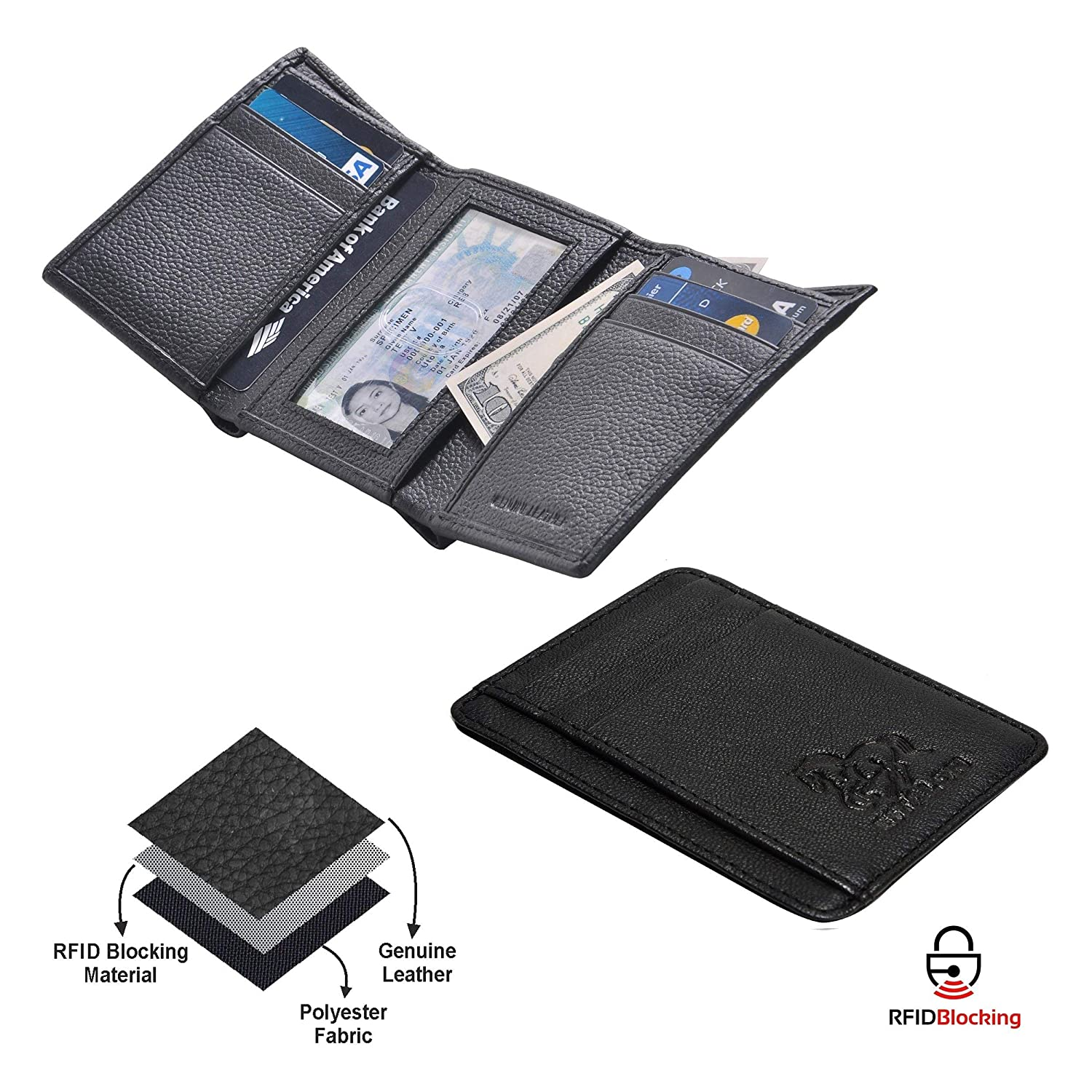 Leather wallets for men Travel wallet slim wallet mens leather wallet with rfid blocking card wallet