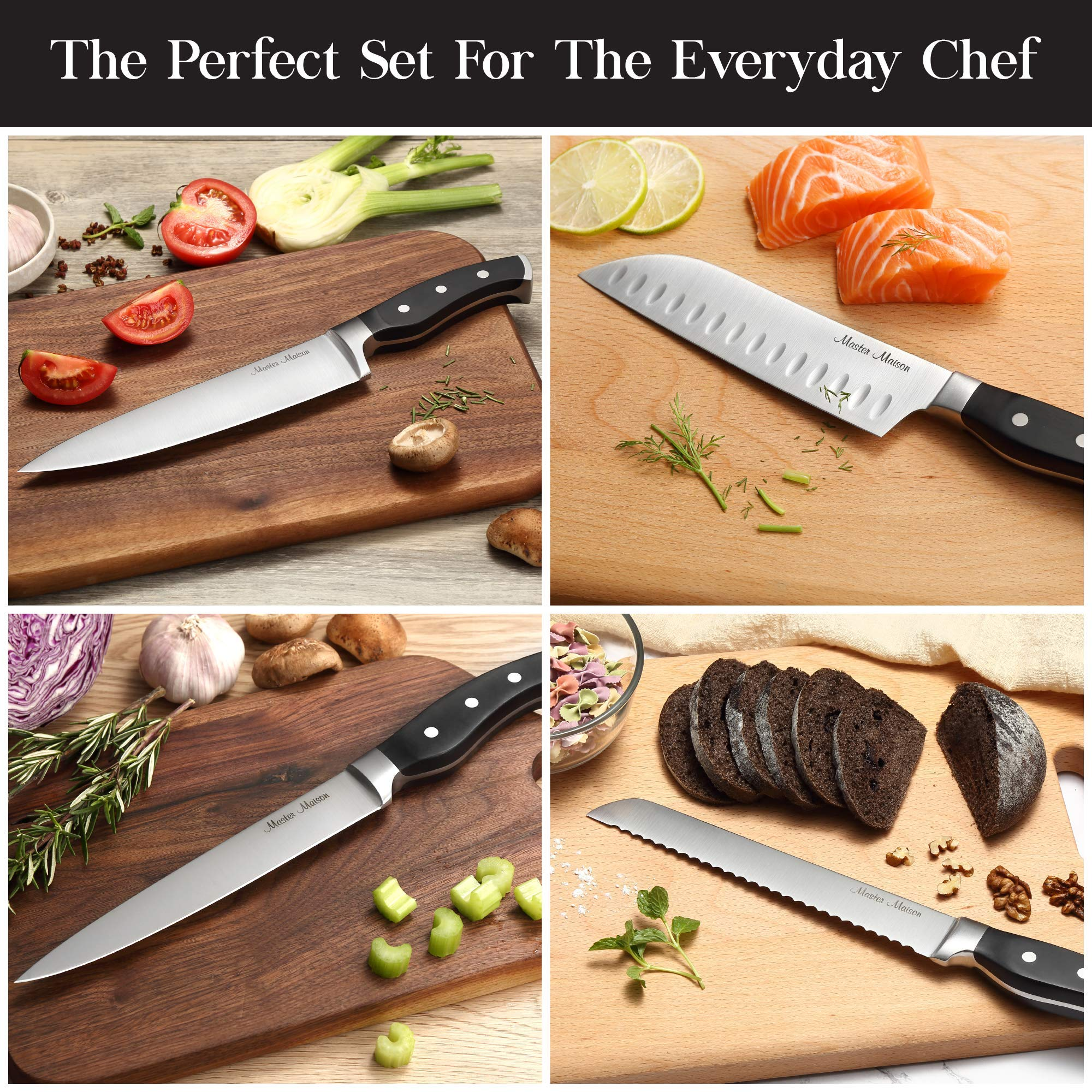 19-Piece Premium Kitchen Knife Set With Wooden Block | Master Maison German Stainless Steel Cutlery With Knife Sharpener & 8 Steak Knives by Master Maison (Image #9)