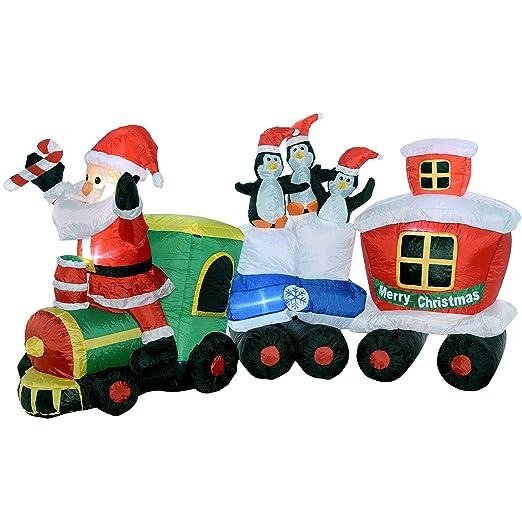 Hinchable preiluminado decorativo navideño de Papá Noel y ...