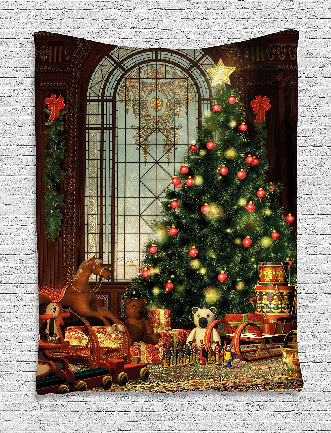 asddcdfdd Christmas Tapestry, Magical Vintage Ambiance Big Old Fashioned Window Xmas Tree Various Presents, Wall Hanging for Bedroom Living Room Dorm, 60 W X 80 L Inches, Brown Red Green