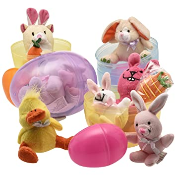 Jumbo 6 easter eggs filled with plush easter bunnys ducks and jumbo 6 easter eggs filled with plush easter bunnys ducks and hamsters pack negle Choice Image