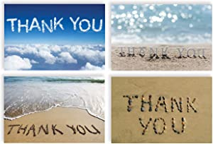 Thank You Cards with Envelopes (100 Pack), 4 Cover Designs, Blank Inside, by Better Office Products, All Occasions, Serenity Collection, 100 Pack