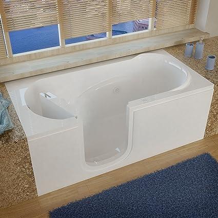 Ordinaire Meditub 3060silwh 3060 Series Rectangular Whirlpool Walk In Bathtub, 30 X 60,  Left Drain, White   Bathtubs   Amazon.com