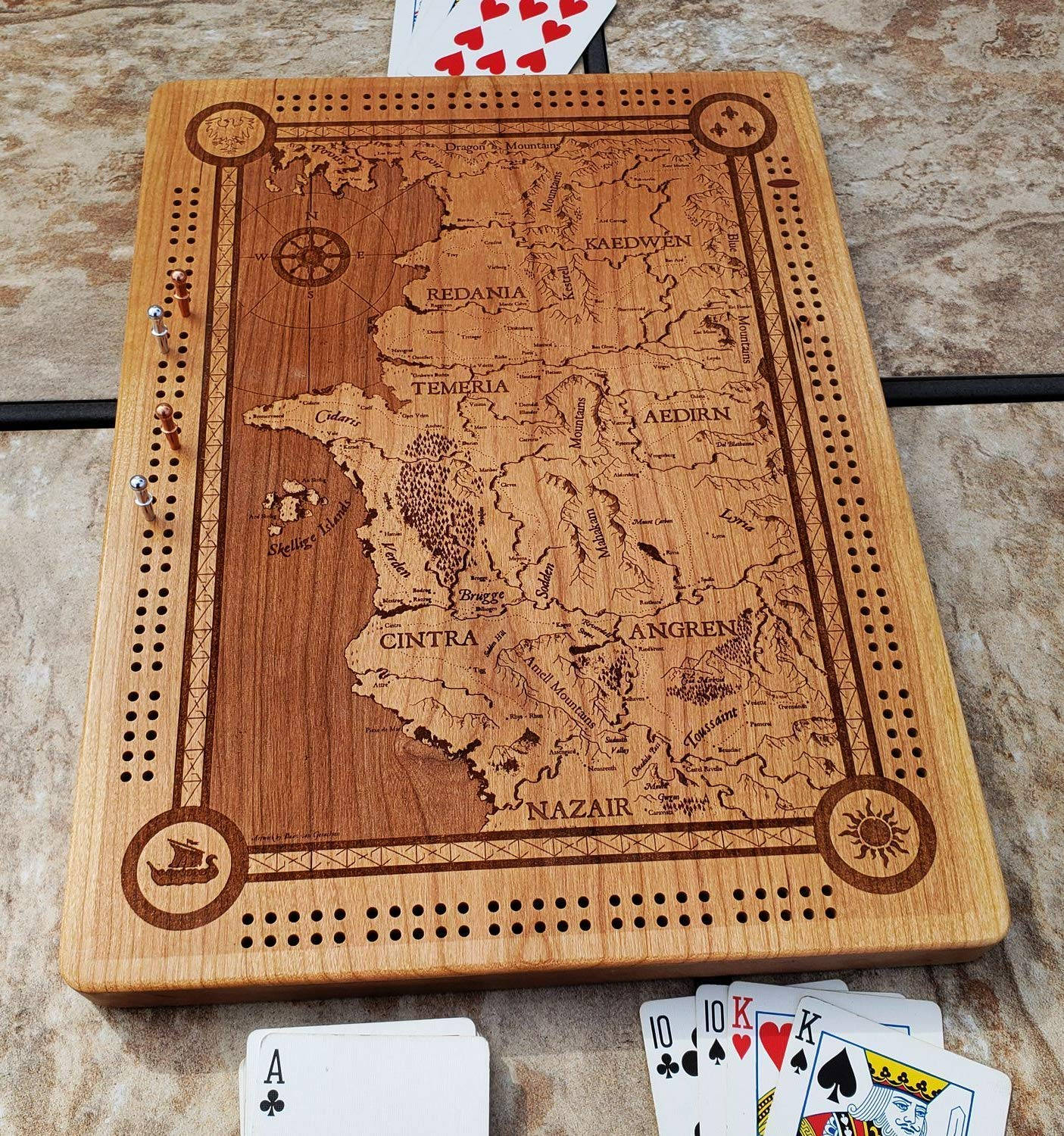 Amazon Com The Witcher World Map Cribbage Board Handmade
