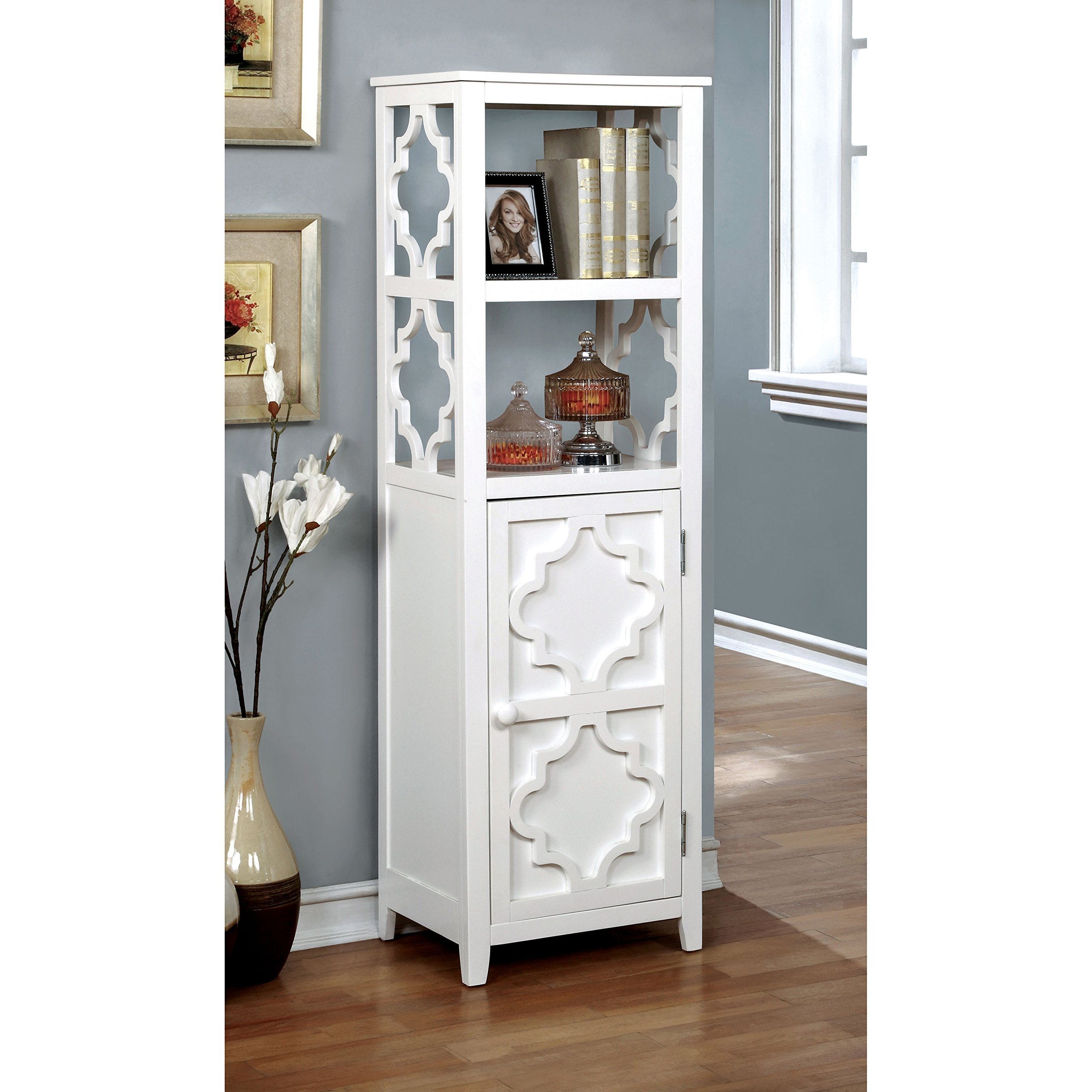 Furniture of America Mersela Contemporary White Quatrefoil Display Cabinet by Furniture of America