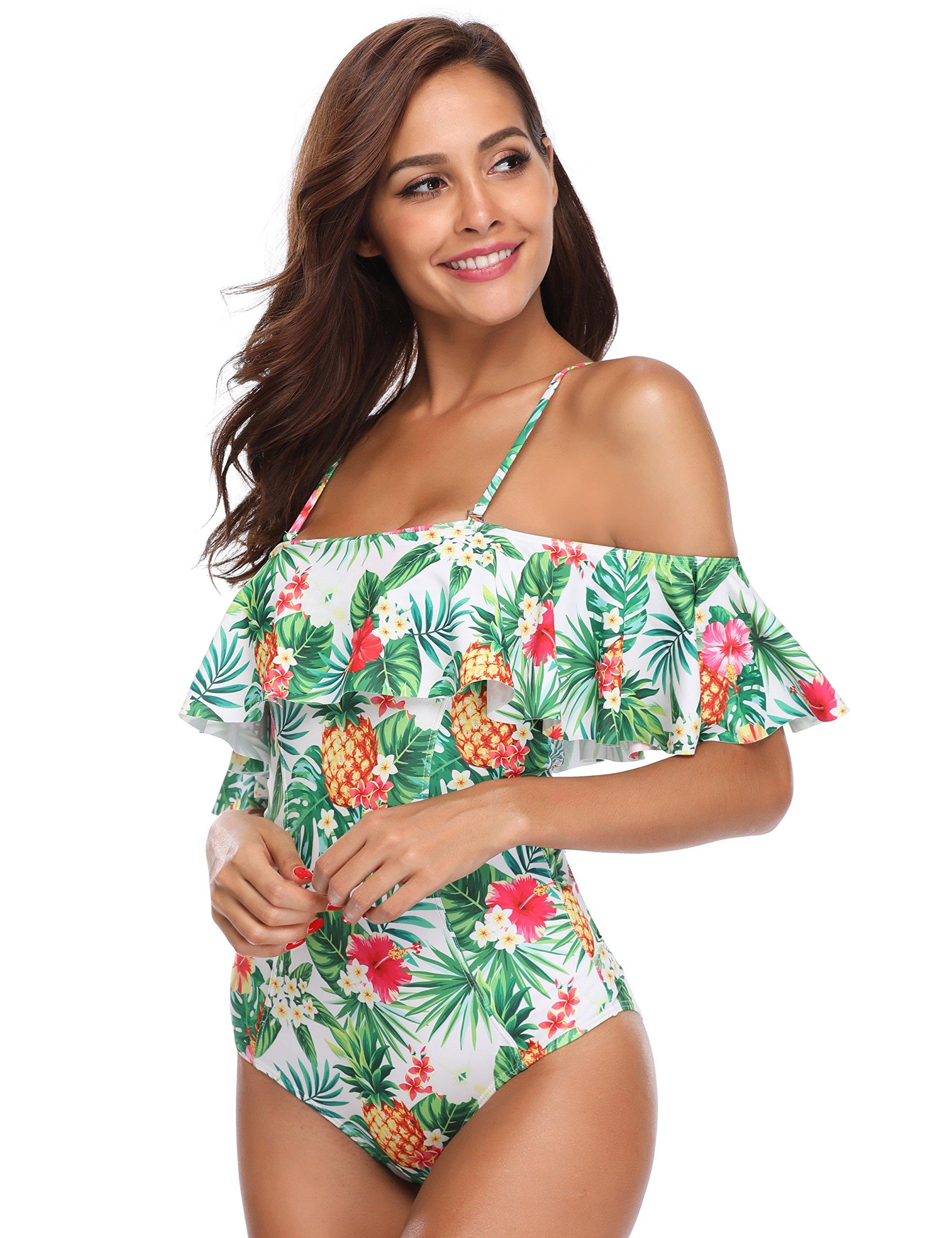 MarinaVida Women One Piece Ruffle Swimsuit Off Shoulder Bathing Suit