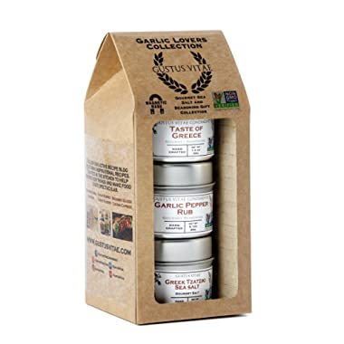 Garlic Lovers Collection Gift Pack - Non GMO - 3 Magnetic Tins - Gourmet Finishing Salts | Crafted In Small Batches by Gustus Vitae | #5