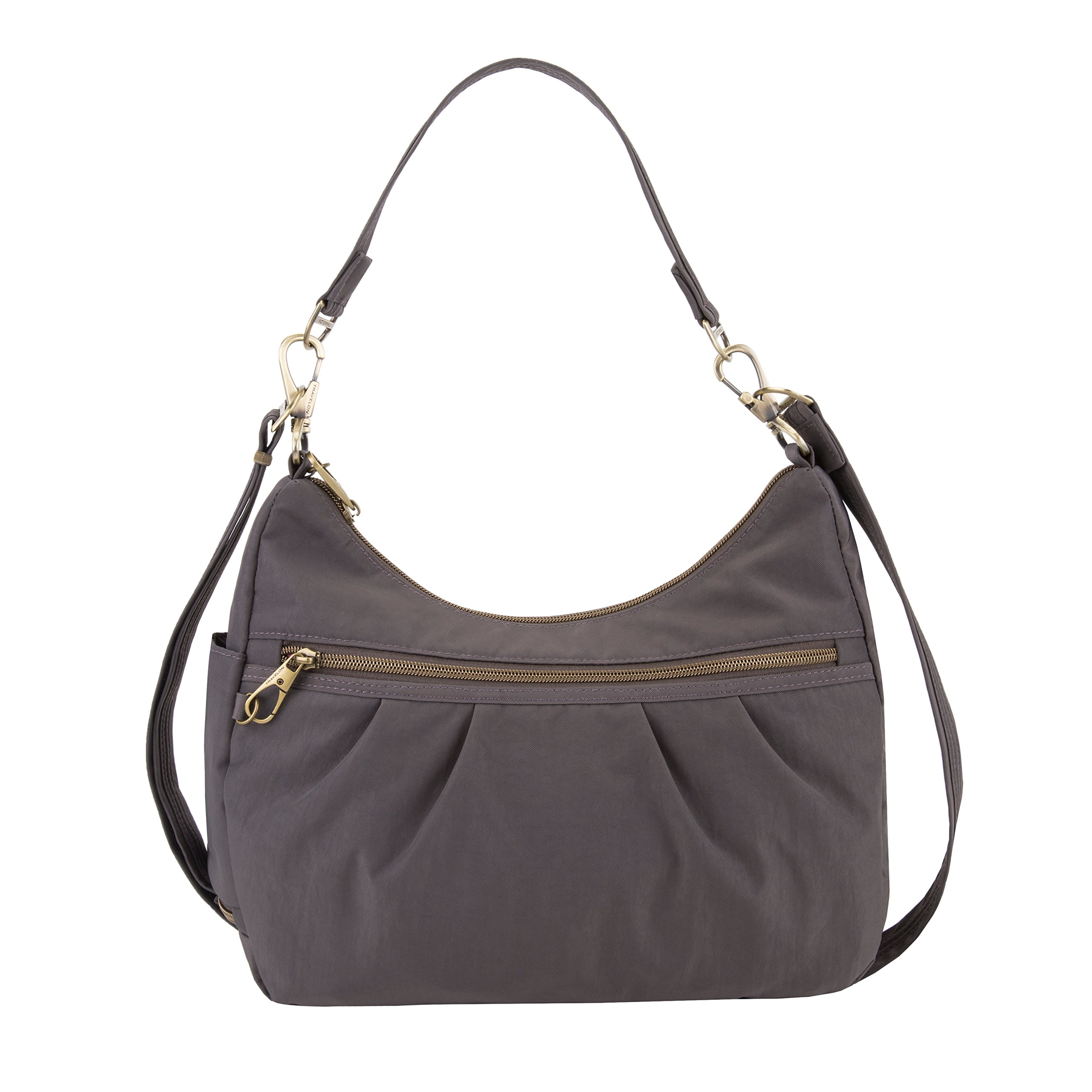 Travelon Anti-theft Signature Hobo Bag, Smoke