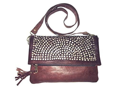 9e87d2f68 Bolso de mujer de piel, vintage artesanal de cuero con remache (marron):  Amazon.es: Zapatos y complementos