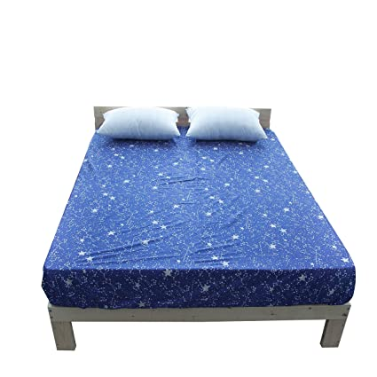 BuLuTu Cotton Deep Pocket Starry Sky Print Fitted Bed Sheet Queen Breathable,  Durable And