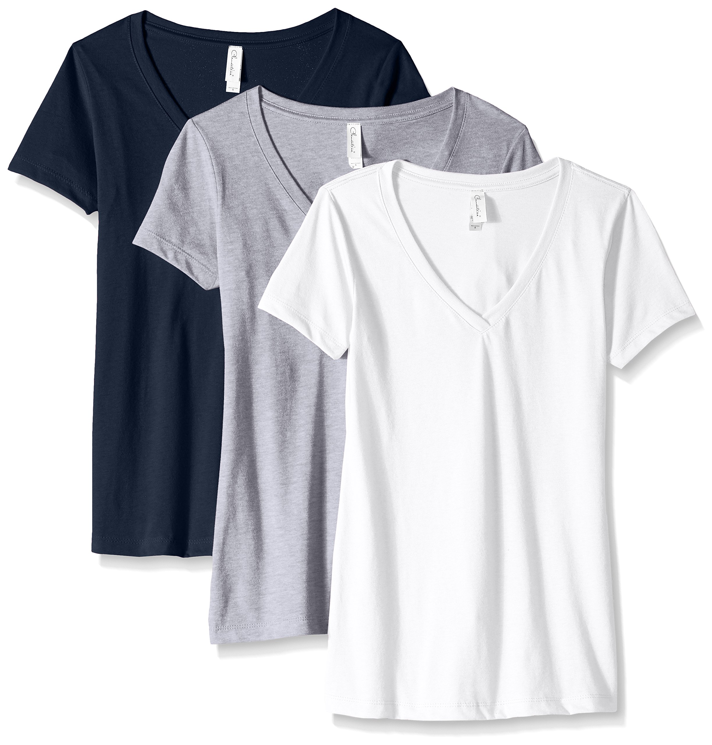 Clementine Apparel Women's Petite Plus Ideal V-Neck T-Shirt (Pack of 3), WhiteHeather GrayMidnight Navy, L