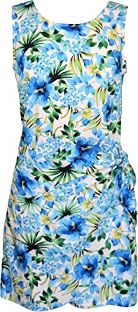 Clancey RJC Womens Plumeria Shores Short Hawaiian Mock Wrap Sarong Rayon Dress Robert J