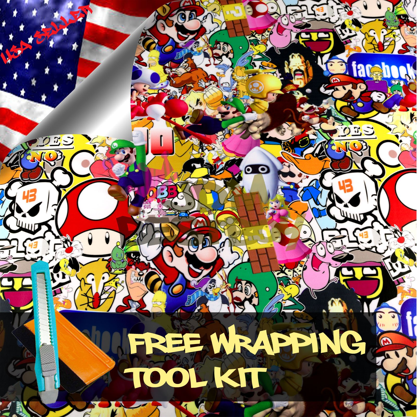 Free Tool Kit MAO JDM Bomber Anime Graffiti Cartoon Car Auto Laptop Vinyl Wrap Sticker Decal Film Sheet - 60''X600''