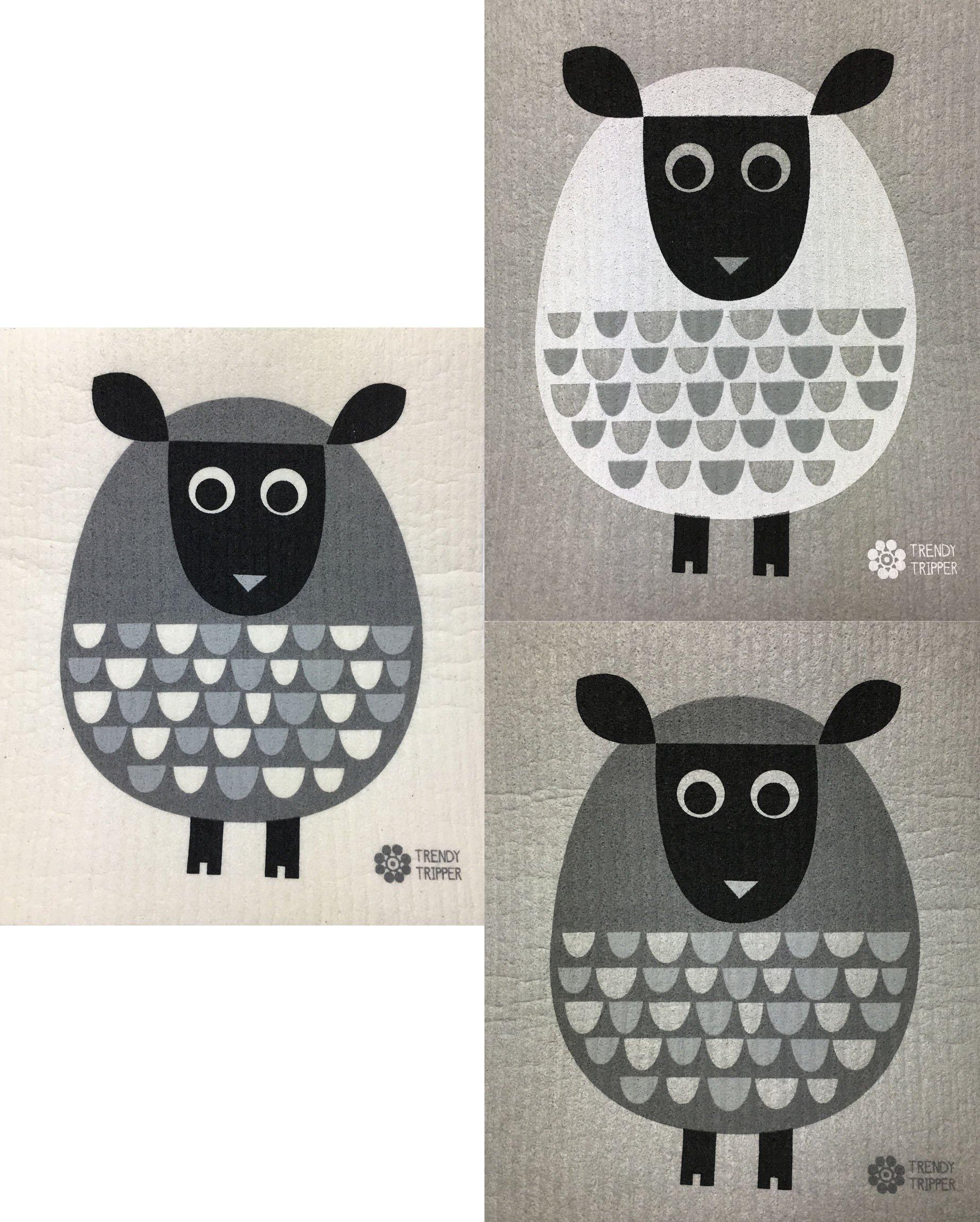 Trendy Tripper Reusable Swedish Dishcloths: Jenn Ski MODERN SHEEP: 1 GREY on GREY, 1 WHITE on GREY + 1 GREY on NATURAL (Set of 3)
