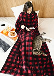 Red Plaid Fleece Wearable Blanket with Sleeves for Women Men, Super Soft Warm Cozy Micro Plush Functional Lightweight TV Wrap Checkered Throw Blanket with Pocket for Lounge Couch Office