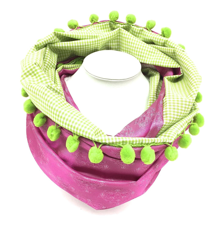 Trachtenschal Trachtentuch Loopschal Halstuch pink grün Loop Hirsch Dirndl Moda Bavarica