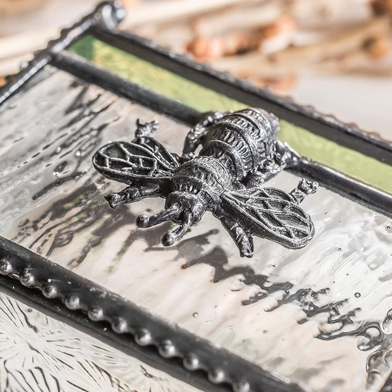 Dragonfly Trinket Box Glass Keepsake Box Gift for Gardener Nature Inspired Jewelry Box Botanical Embossed Glass  Box 291