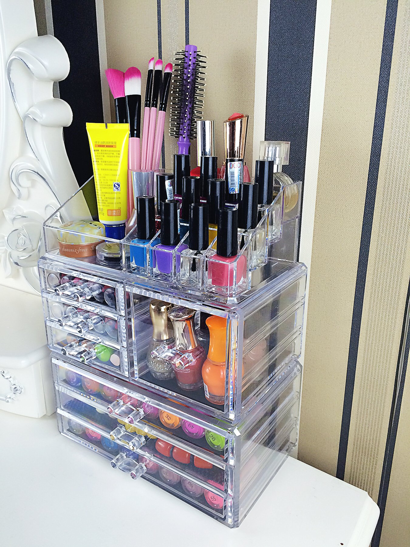 Cq acrylic 7 Drawers and 16 Grid Makeup Organizer,9.5''x6.5''x11.8'',Clear 2 Piece Set