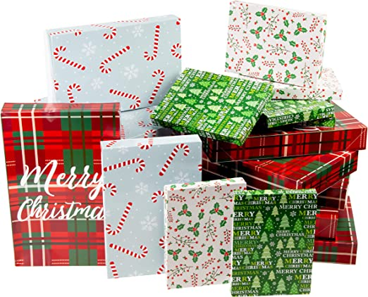 Amazon Com Juvale Box 24 Pack Gift Wrapping Paper Boxes Christmas Boxes For Gifts With Lids For Holiday Presents 3 Sizes 4 Assorted Festive Designs Home Kitchen