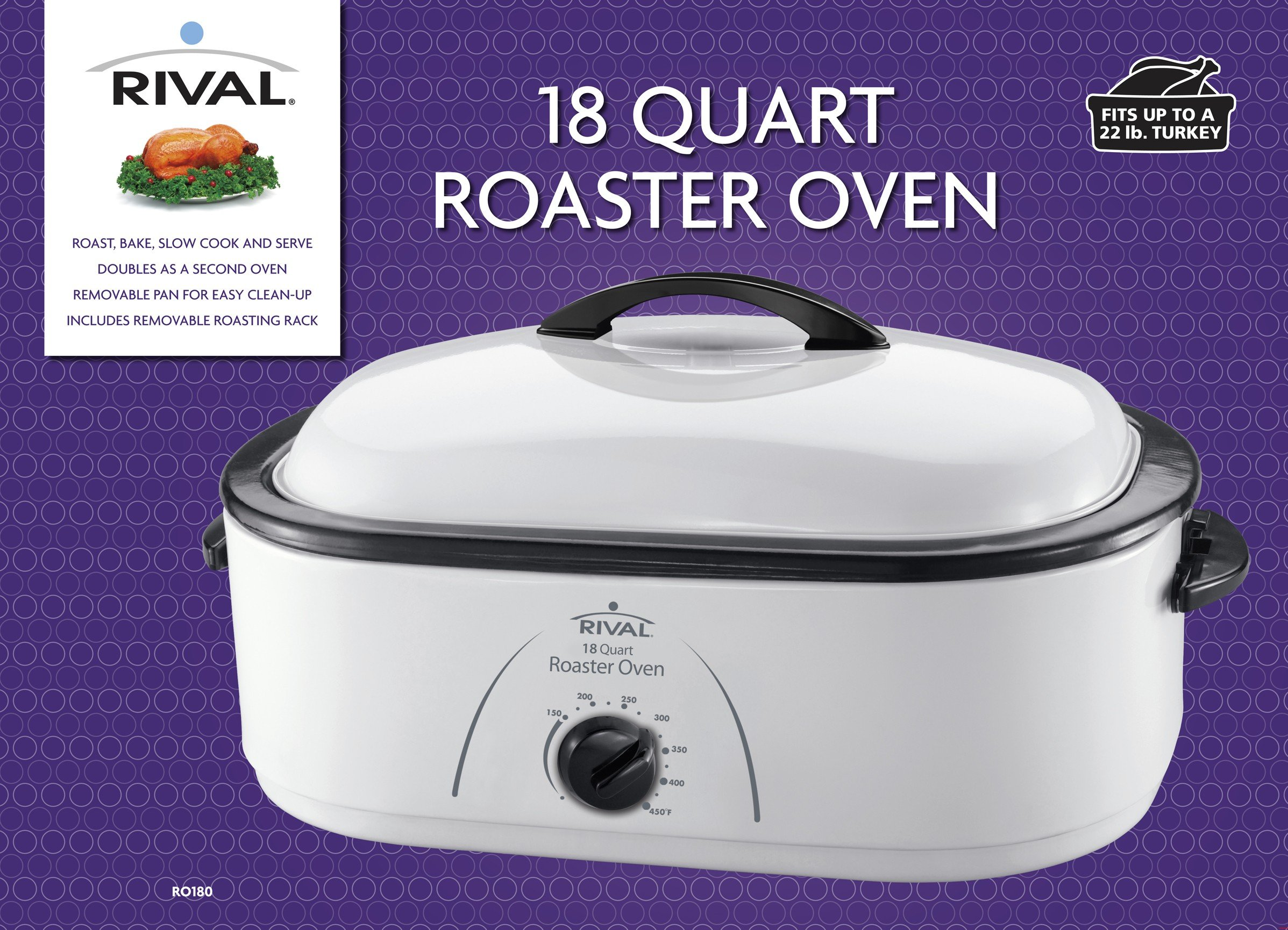 Rival Roaster Oven, 18-Quart, White (RO180) by Rival