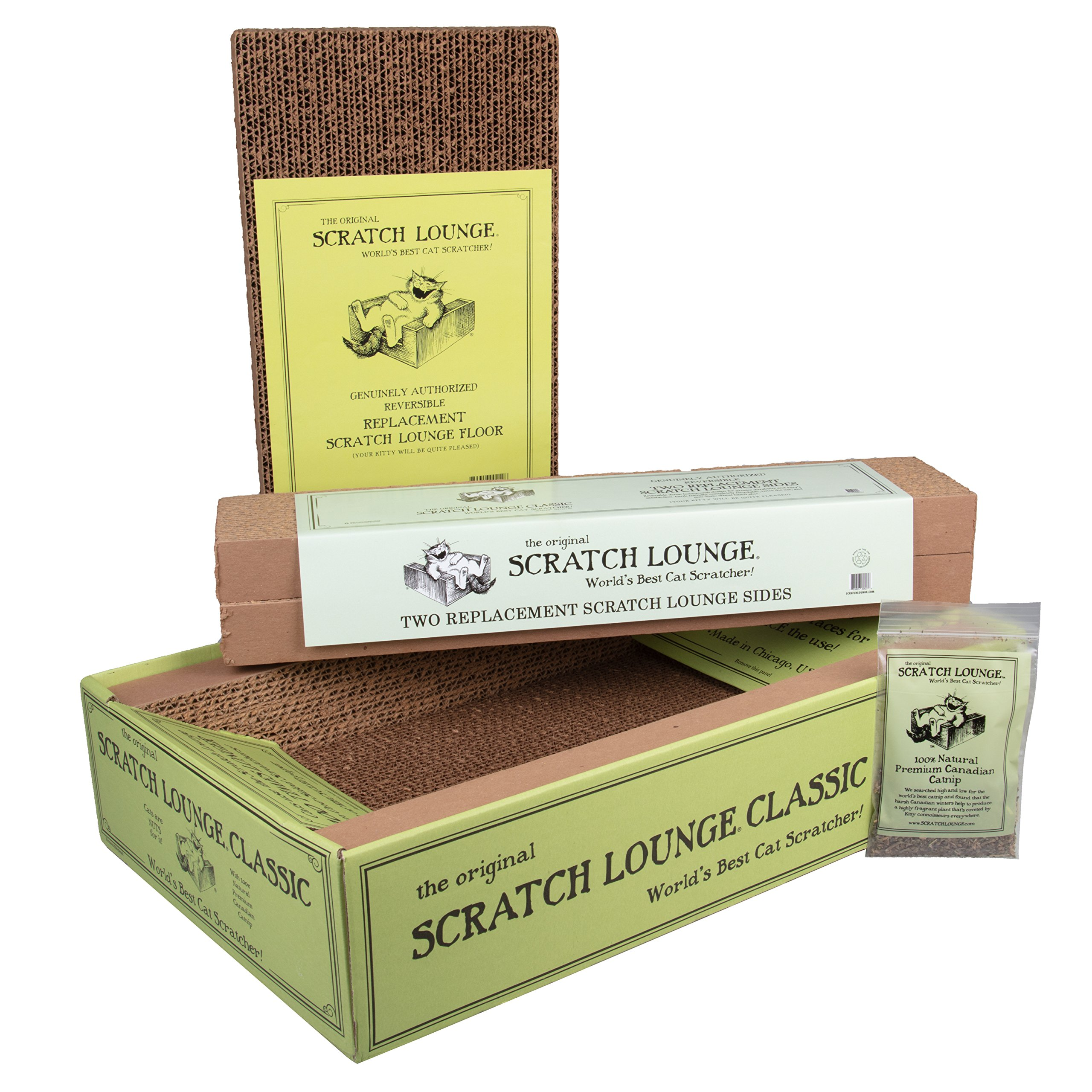 Scratch Lounge The Original Reversible Cardboard Cat Scratcher with Floor and Side Replacement Refills and Catnip