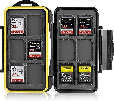 Ares Foto® Estuche impermeable Anti-choque para tarjetas de memorias 12 x tarjetas SD. Recubrimiento de goma de alta calidad: Protección perfecta contra la humedad.: Amazon.es: Informática
