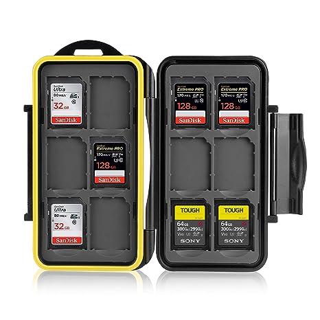 Ares Foto® Estuche impermeable Anti-choque para tarjetas de memorias 12 x tarjetas SD. Recubrimiento de goma de alta calidad: Protección perfecta ...