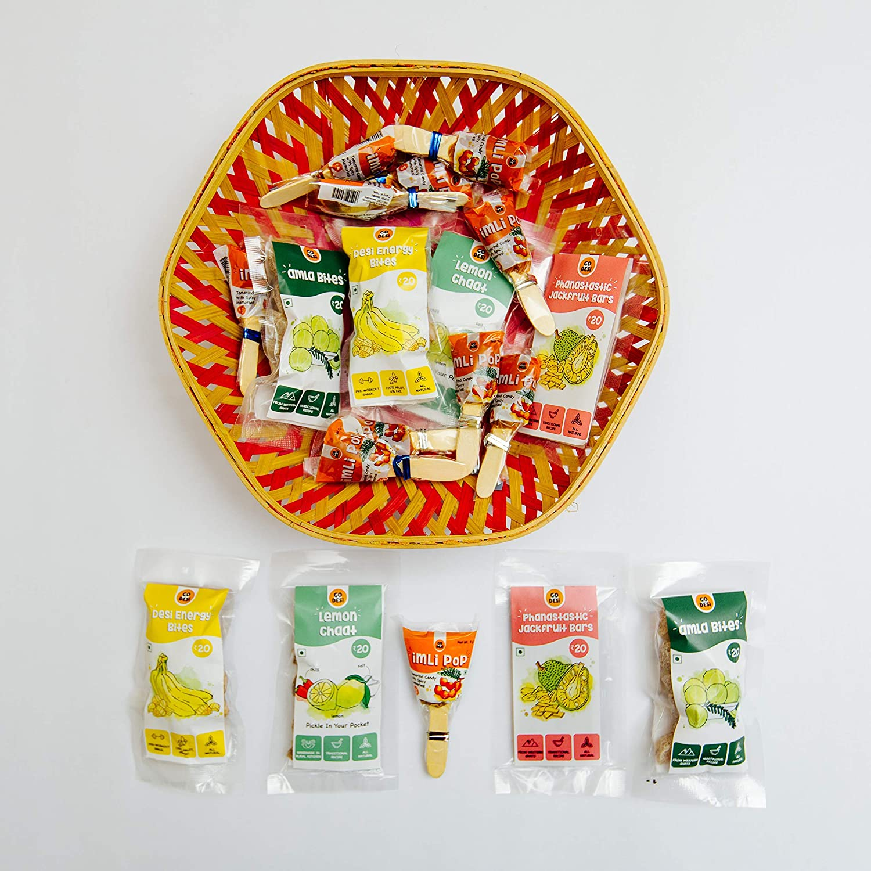 GODESi Assorted Indian Snacks - Imli Pop (2 Packs), 2 Banana Bites (70 g), 1 Amla Bites (35 g), 1 Lemon Chaat (18 g), 2 Jackfruit Bars (70 g) - Immunity Booster