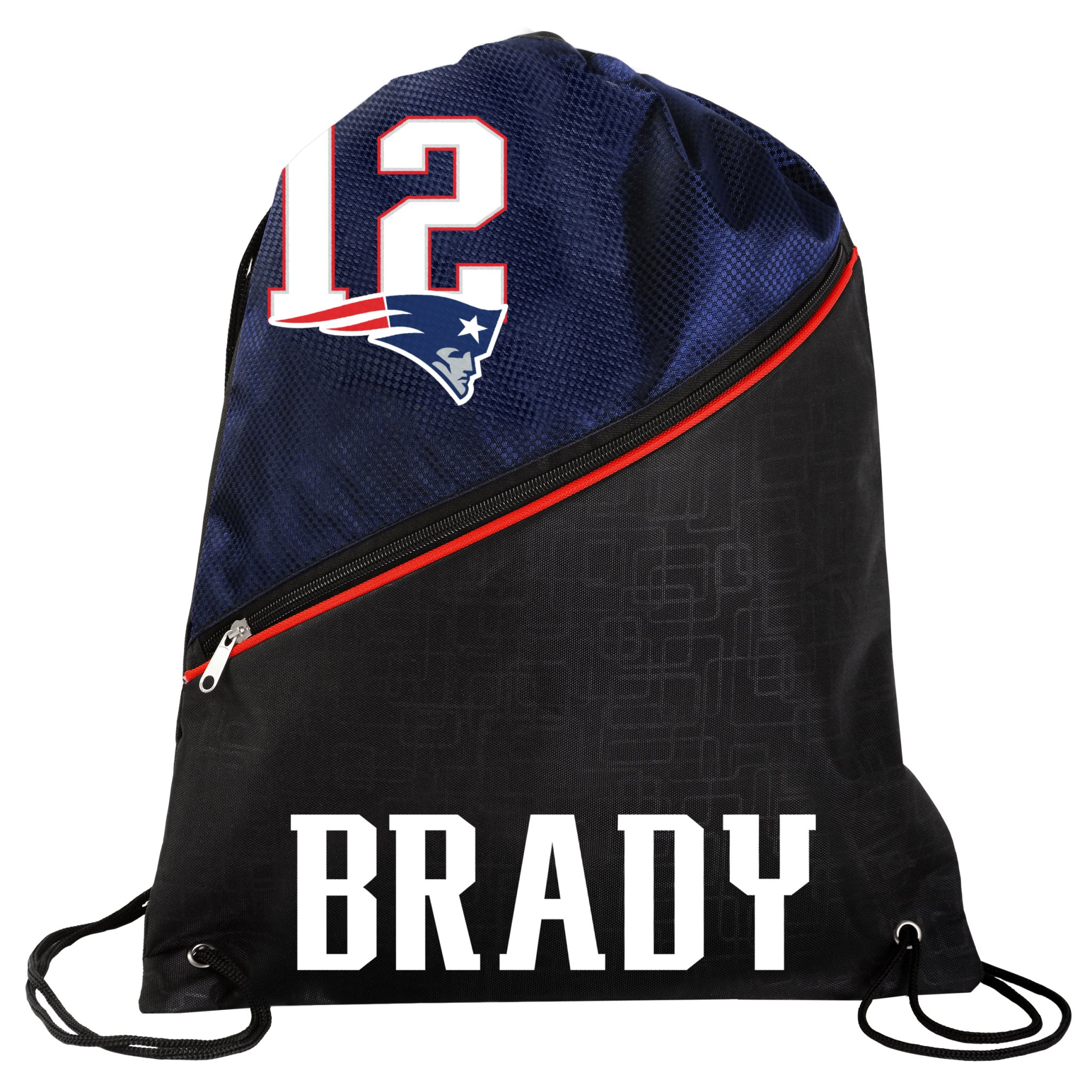 FOCO New England Patriots Official High End Diagonal Zipper Drawstring Backpack Gym Bag - Tom Brady #12 by FOCO