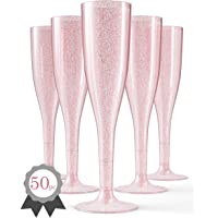 50 Gold/Pink Plastic Champagne Flutes | Glitter Elegant Plastic Toasting Glasses Perfect for Any Celebration - Wedding, Birthday Party, Bachelorette Party, New Year's Eve Celebration