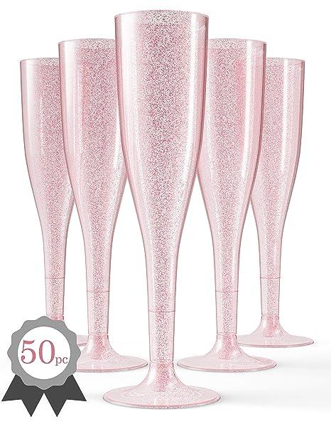 100 x  Plastic Champagne Flute Champagne flute Neon Pink