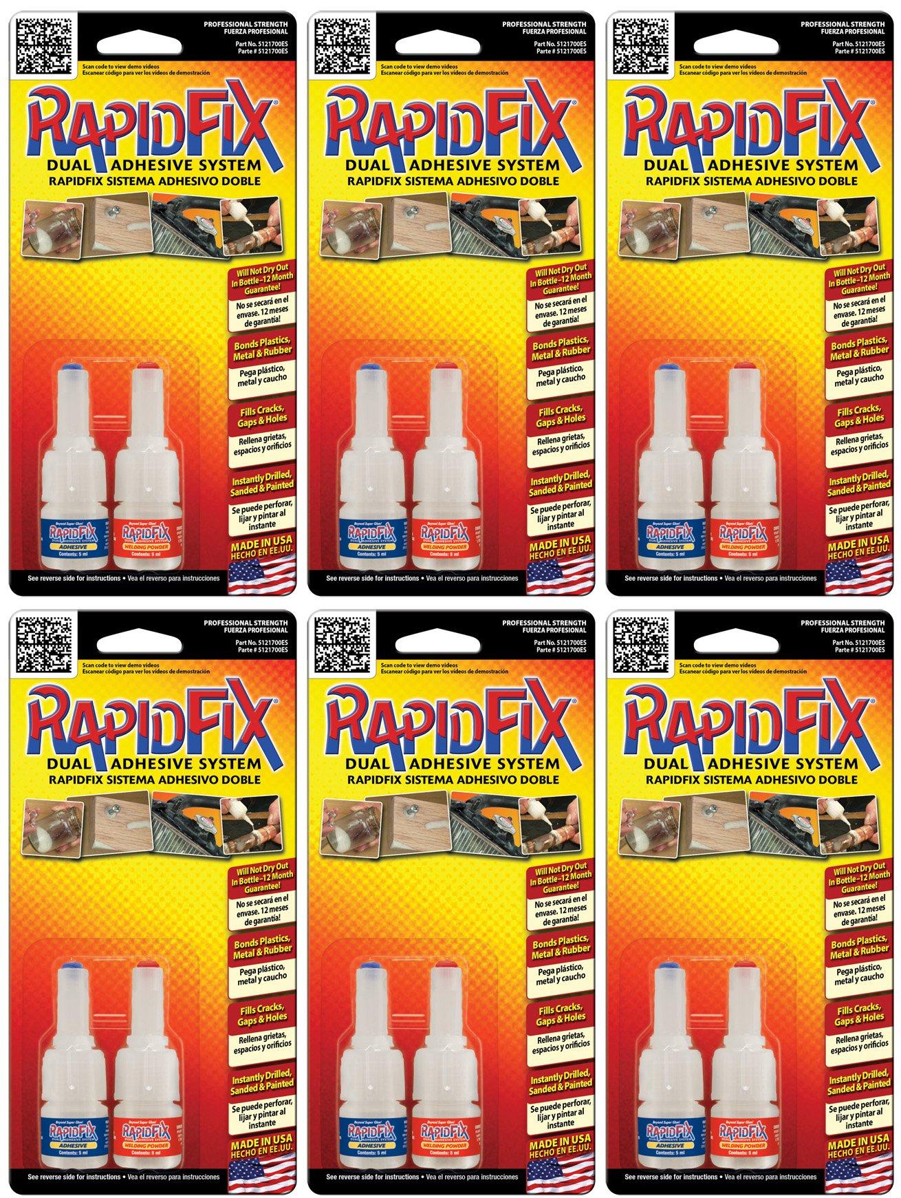 RapidFix Dual Adhesive System Multi-Pack, 6-Pack, 5 ml.Size