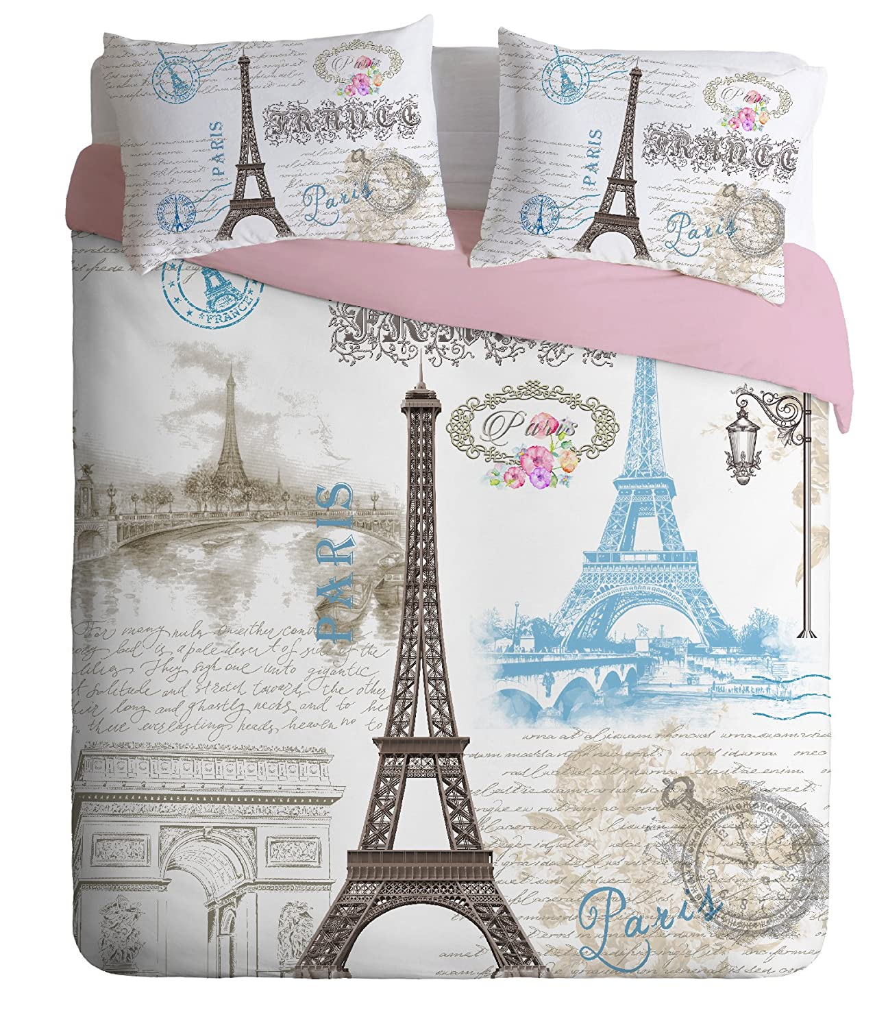100% Turkish Cotton Paris Eiffel Tower Theme Themed Full Double Queen Size Duvet Cover Set Made in Turkey