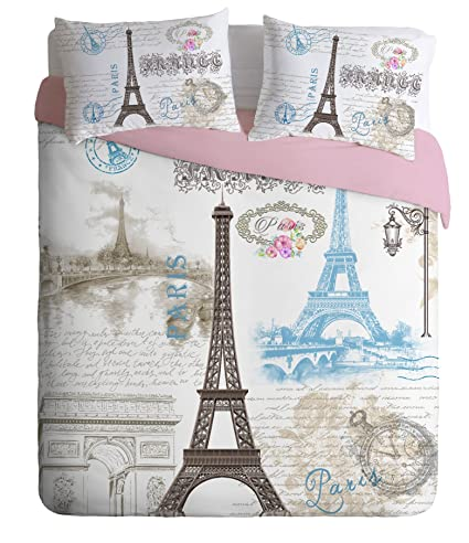b3f0e40af1e98d Amazon.com: 100% Turkish Cotton Paris Eiffel Tower Theme Themed Full Double  Queen Size Duvet Cover Set Made in Turkey: Home & Kitchen