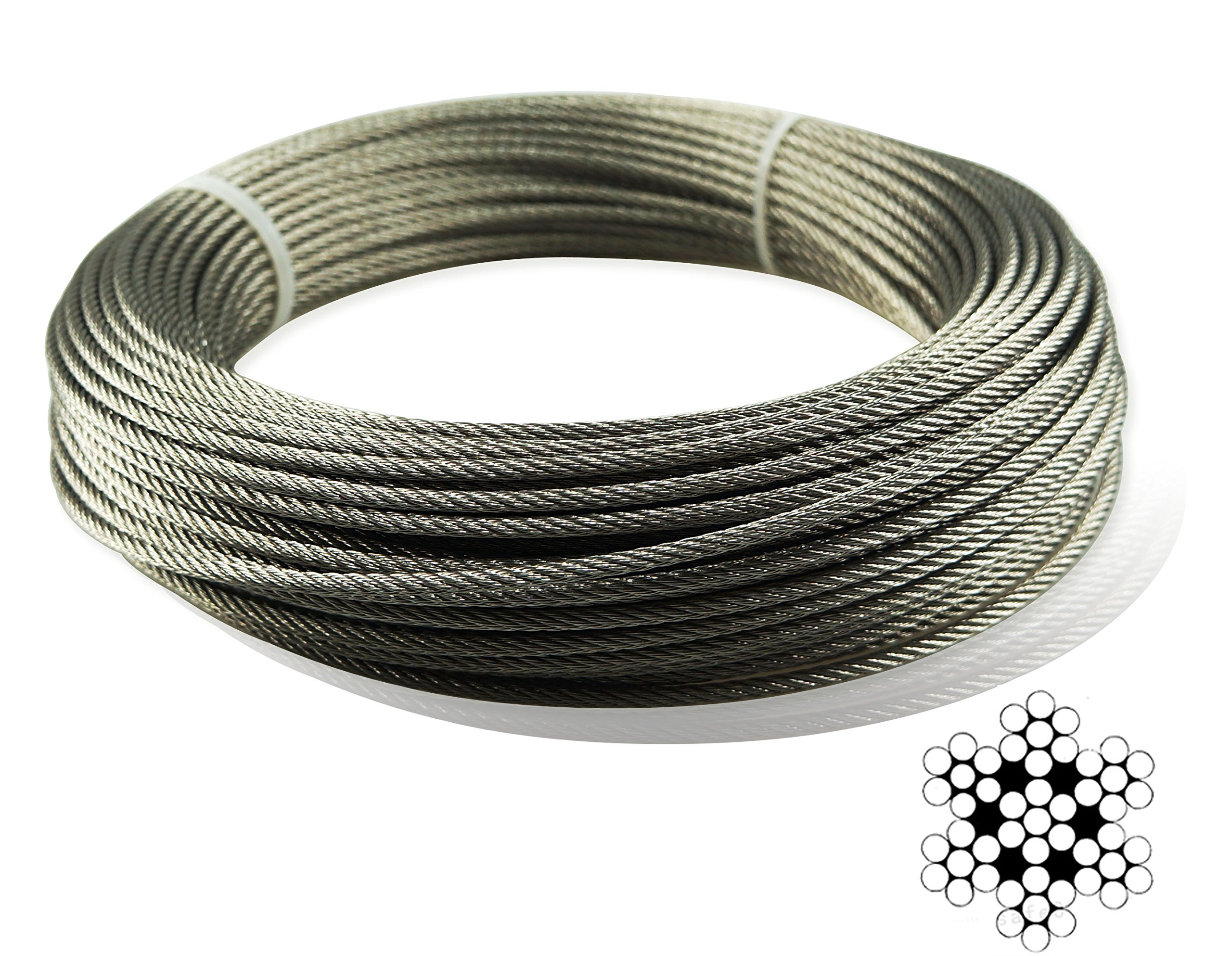 Muzata Stainless Aircraft Steel Wire Rope Cable For Railing,Decking, DIY Balustrade, 1/8Inch,7x7,165Feet