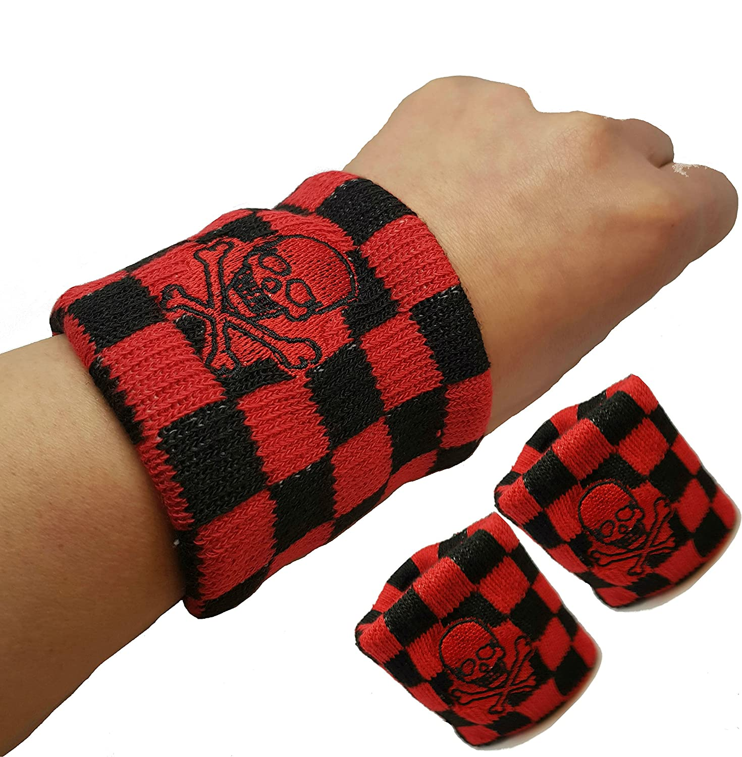 Vonchic Sport Sweatband Checkered Black Red Pirate Skull Cross Bone Logo Sports Sweatbands/Wristbands 1Pair Ningbo General Union