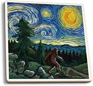 product image for Lantern Press Northwest - Van Gogh Starry Night - Bigfoot (Set of 4 Ceramic Coasters - Cork-Backed, Absorbent)