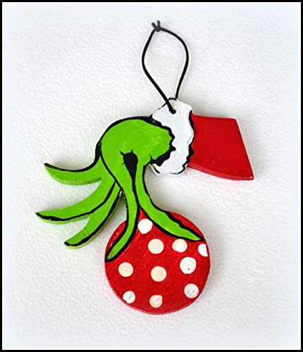 a grinch ornament christmas grinch ornament grinch hand with ornament wood grinch christmas - Grinch Christmas Ornaments