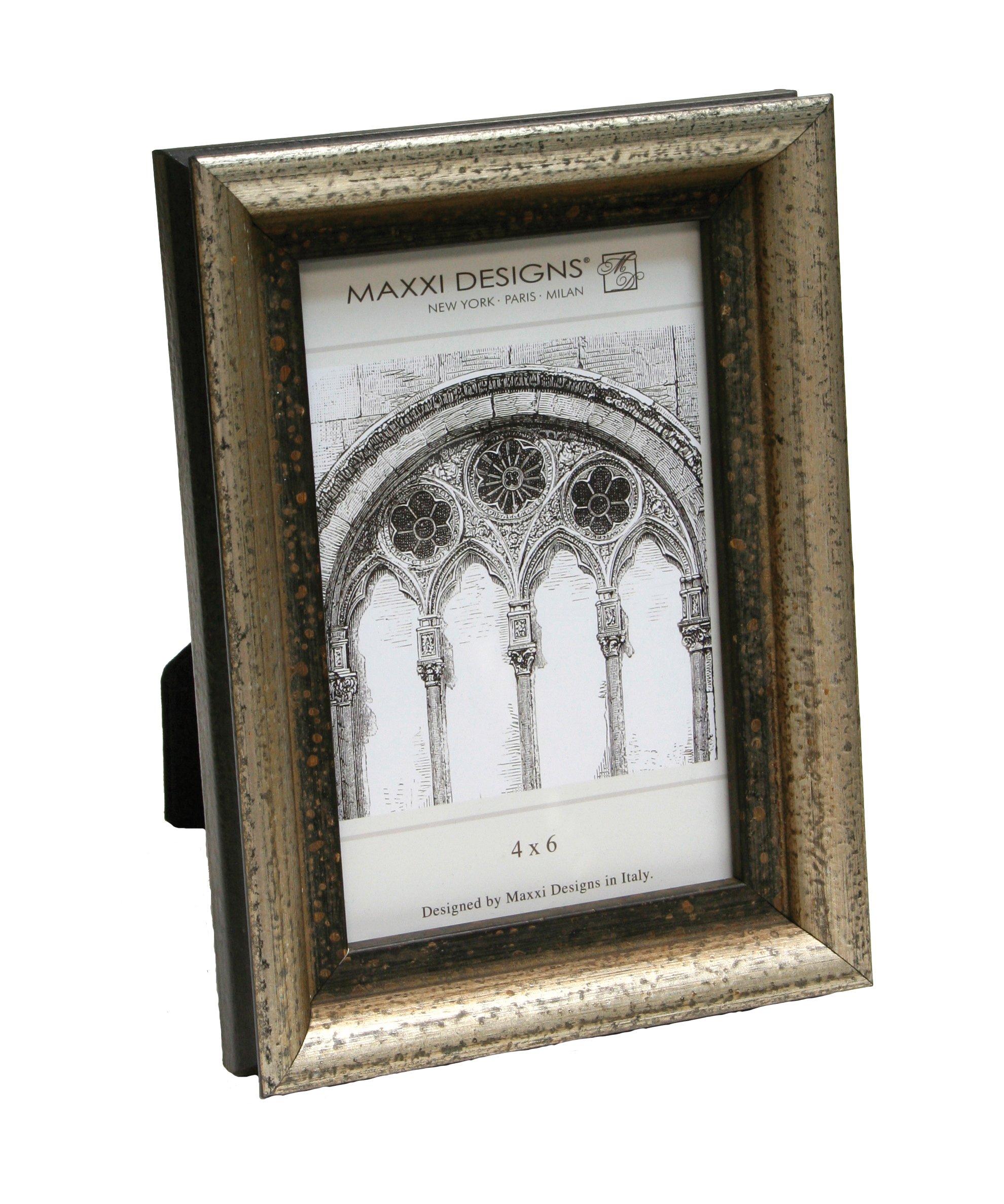 Maxxi Designs Arezzo Photo Frame, 5'' x 7'', Antique Silver and Black