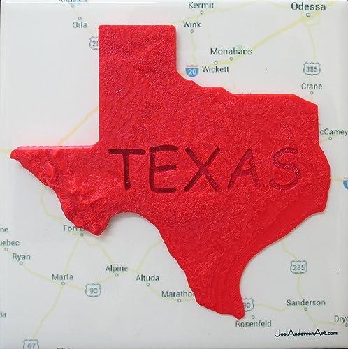 Amazoncom Texas Elevation Map Over West Texas Art Tile Print - Texas elevation map