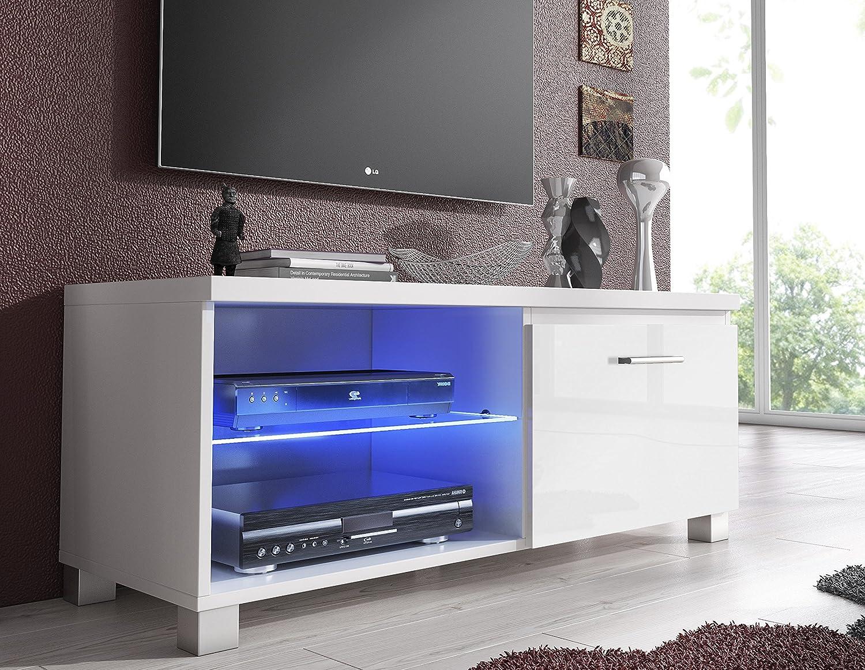 Comfort Home Innovation – Meuble de télévision LED, Salon-Salle à Manger, Blanc Mate Blanc Laqué, Dimensions: 100 x 40 x 42 cm de Profondeur.