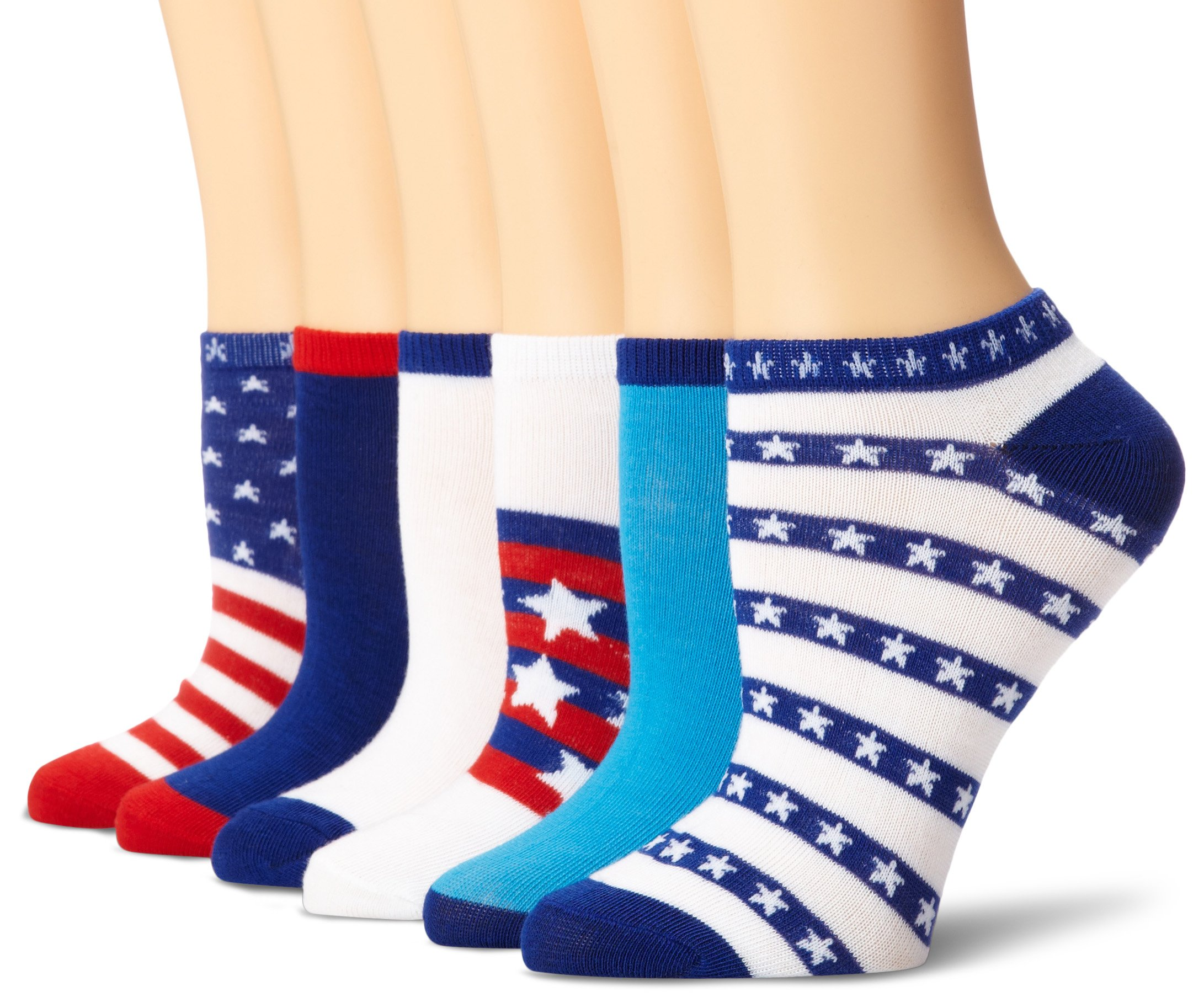 K. Bell Women's 6 Pack Novelty Crew Socks, Americana, 9-11