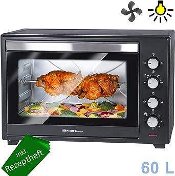 60 L Mini-BackofenKrümelblechDrehspießUmluftInnenlichtPizza-Ofen
